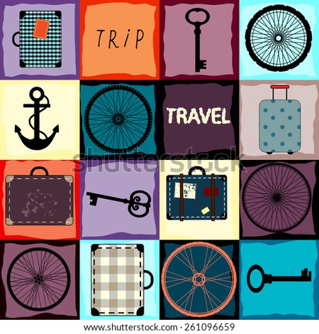 Background pattern. Travel background with wheels and suitcases.