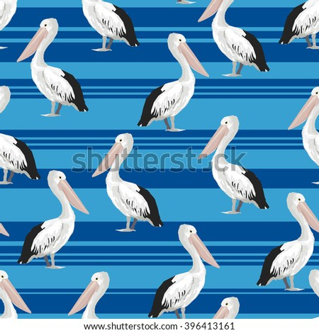 Background pelican and stripes, textile design, print fabric. - stock vector