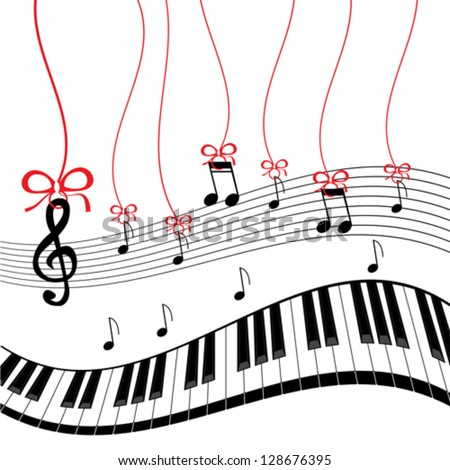 Background - piano music - stock vector