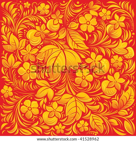 Background. Read fragment of Russian traditional ornament - stock vector