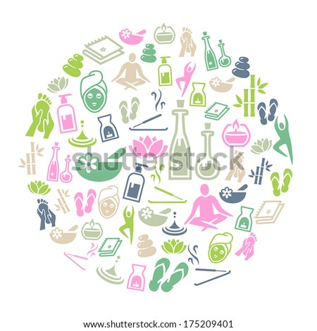 Background representing wellness, relaxation and healthy lifestlyle. - stock vector