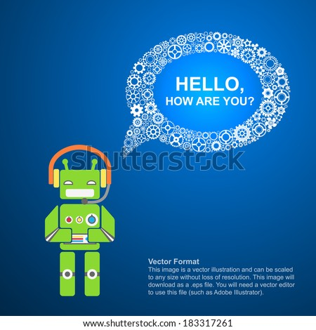 background robot, text bubble of gears, background characterizing ...