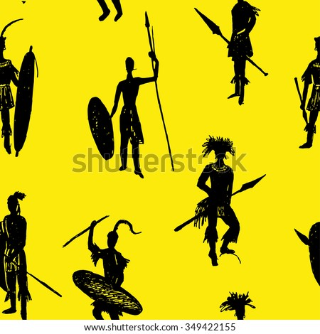 background seamless pattern African tribal warriors in the battle suit and arms drawing sketch hand-drawn vector illustration on a yellow background - stock vector