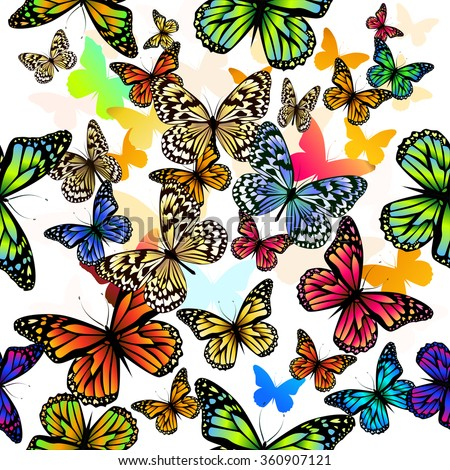 background seamless pattern of colored butterflies. Vector - stock vector