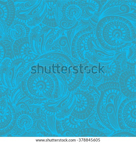 Background seamless pattern of floral ornament on a turquoise background doodle vector illustration - stock vector