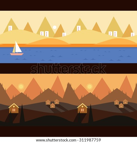 Background Seamless scenery seasons and landscapes, vector illustration - stock vector
