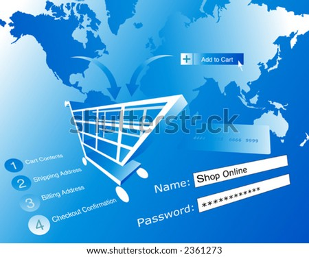 Background shopping and buying online - vector.