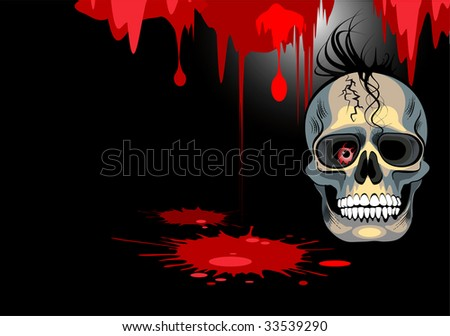 background skull blood vector - stock vector