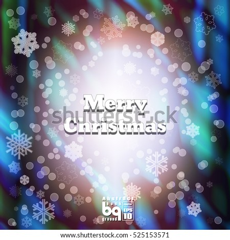 Background snowflakes. Merry Christmas illustration. Circle rainbow. Bokeh effect. Multicolor gradient.