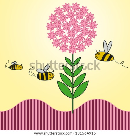 background spring of colorful flowers bees - stock vector