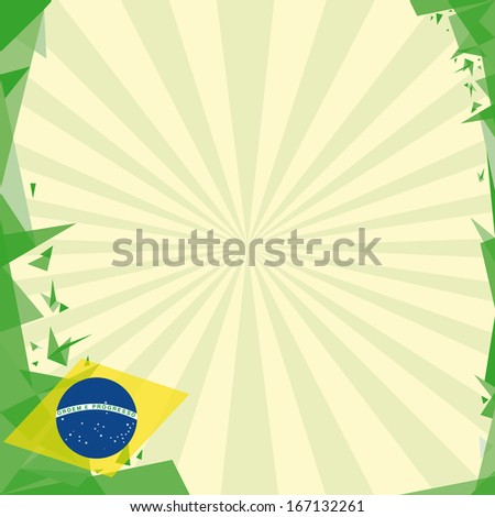 background square origami of brazil. A greeting square card for you. - stock vector
