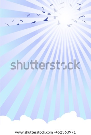 background template with birds, clouds and rays in front of cold sun rays
