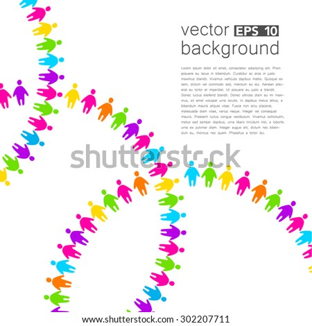 Background template with colorful people. Design template concept for global organizations, companies, foundations, associations, unions. - stock vector