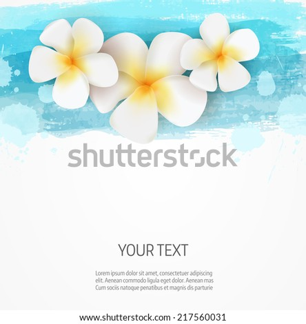 Background template with watercolor imitation lines and three frangipani flowers - stock vector