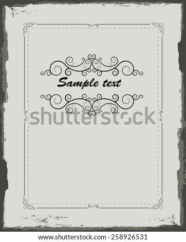 Background Texture . Vector Retro Frame with Scroll Elements . Vintage Swirl Border Frame . Vector Frame for your Design .  - stock vector