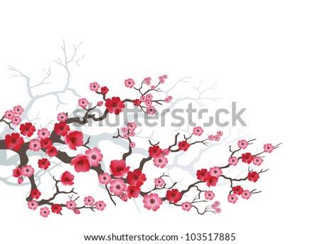 Background to blooming Sakura. Vector. - stock vector