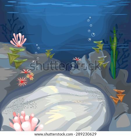 background underwater landscape - stock vector