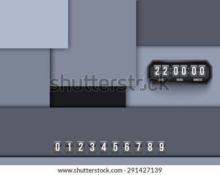 Background Unusual modern material design. Coming Soon and countdown timer. Abstract Vector Illustration.  - stock vector