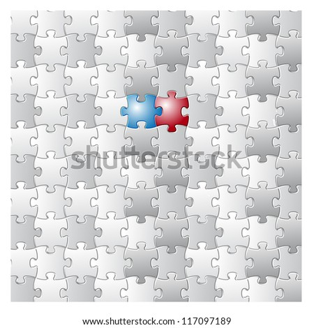 Background Vector Illustration of Blank Jigsaw Puzzle