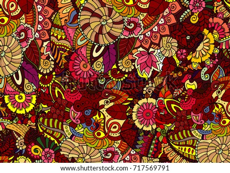 Mehndi Patterns Vector : Background vector texture red yellow forest stock