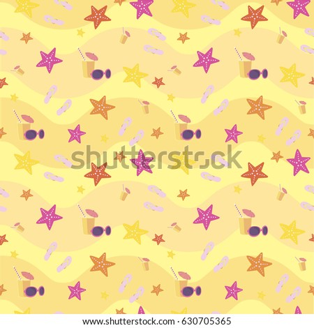 Background wallpaper with starfish. Sea. Summer. Beach. Vector illustration
