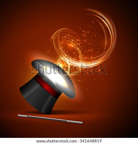 background wand and magical glow - stock vector