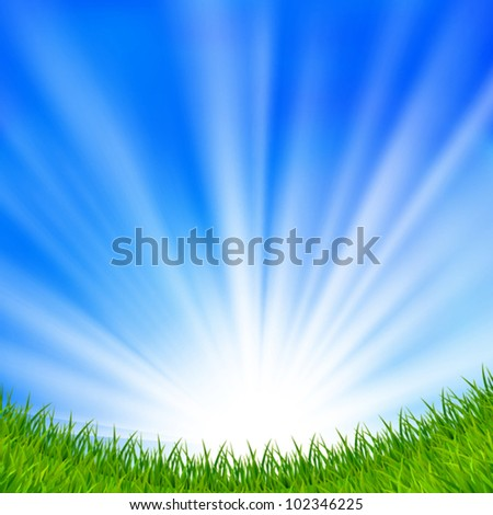 Background with a blue sky, sun and green grass. EPS10. Mesh. Clipping Mask. - stock vector