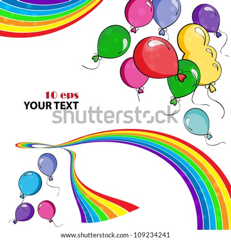 background with a colored air balloons and rainbow