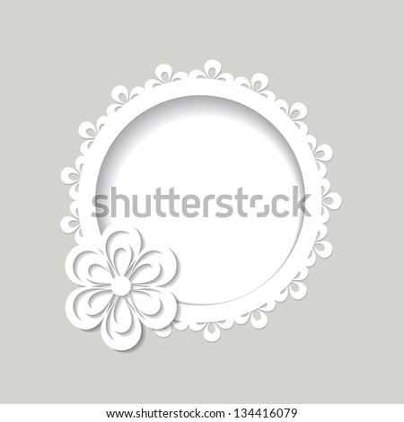 background with a flower and a frame - stock vector