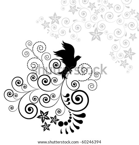 Background with a flying bird. - stock vector