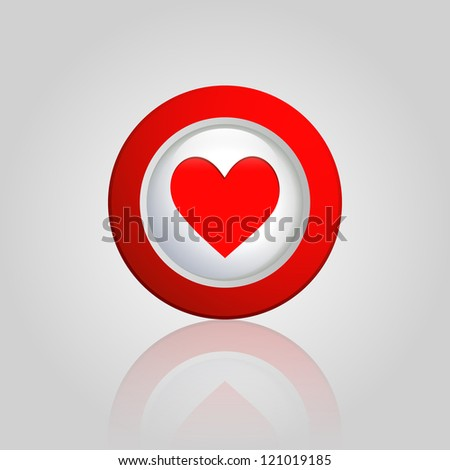 background with a heart button - stock vector