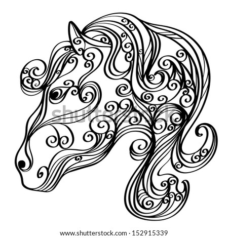 Background with a horse isolated symbol of the new year - vector