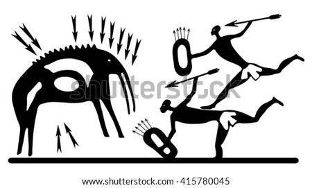 Background with a petroglyphic ancient fresco about hunting. - stock vector