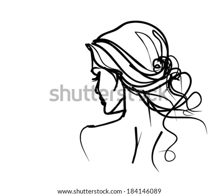 Background with a portrait of the beautiful young girl - stock vector