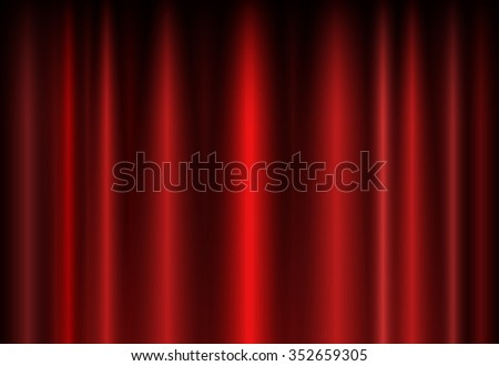 Background with a red curtain on the stage for your creativity - stock vector