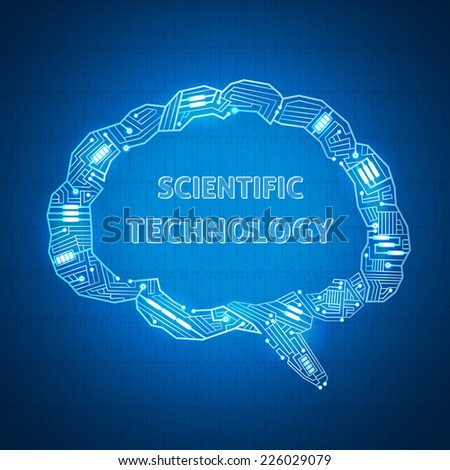 background with a text bubble in the form of wires on the motherboard, scientific wallpaper, outlines their brain electronic wire - stock vector