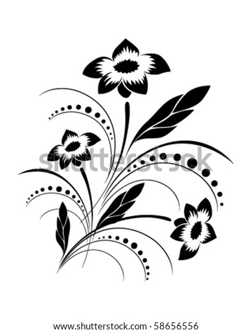 Background with a vector flower pattern - stock vector
