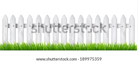Background with a white wooden fence with grass. Vector. - stock vector
