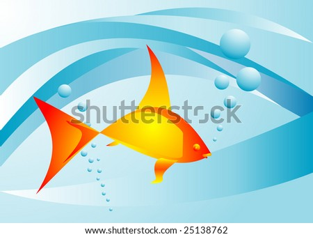 background with abstract goldfish - stock vector