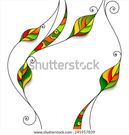 Background with abstract leaves. Decorative floral frame - stock vector