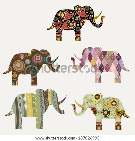 Background with abstract ornamental colorful elephant