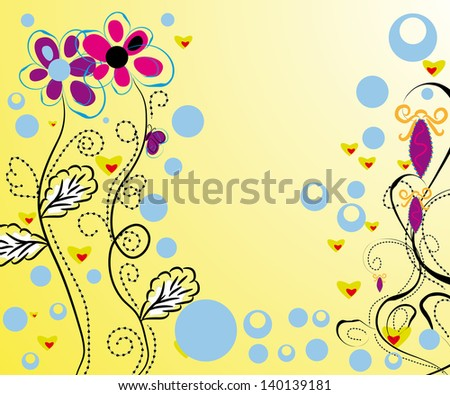 background with abstract vector flower and other elements