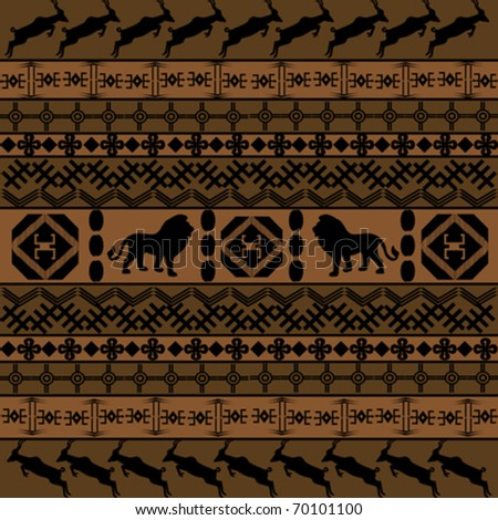 Background with African motifs and animals - stock vector