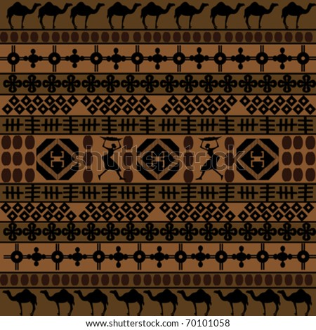 Background with African motifs and camels silhouettes - stock vector