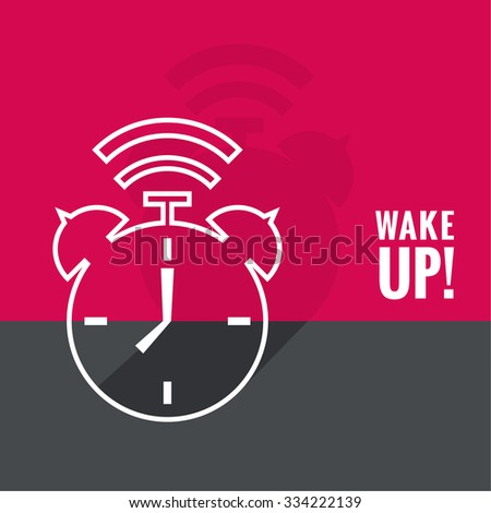 Background with alarm clock. The concept of early awakening. morning wake up and deadline. vector. flat design with shadow. outline - stock vector