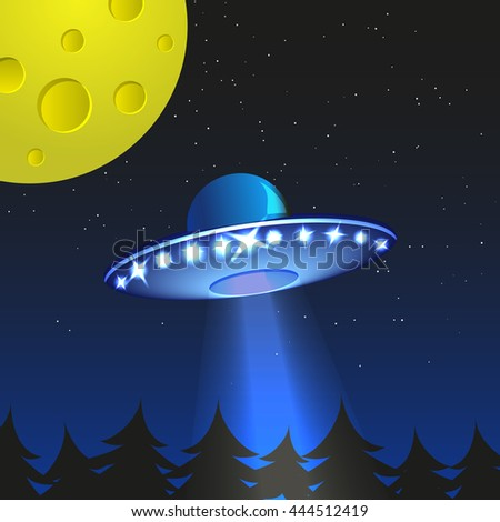 Background with alien spaceship. World UFO day. Vector Illustration. - stock vector