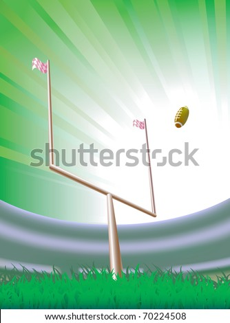 Background with american football goalpost and stadium. Vector illustration. Contain Illustrator mesh. - stock vector