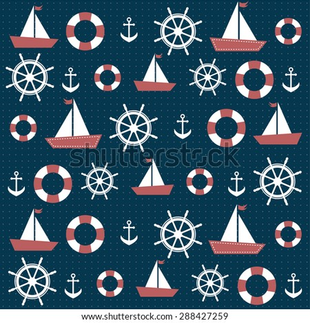 background with anchors and boats - stock vector