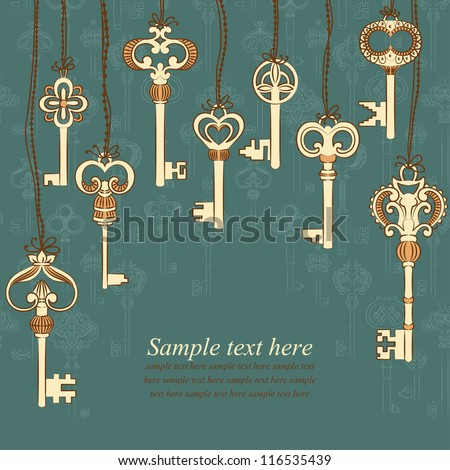 Background with antique keys collection and place for your text. Vector illustration.