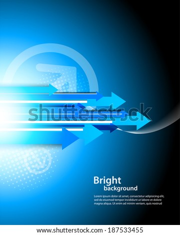 Background with arrows in blue color - stock vector